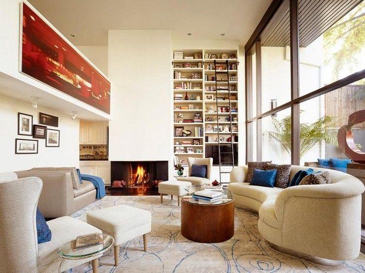 Idées aménagement salon moderne écran tv plasma fixé au mur du côté droit du