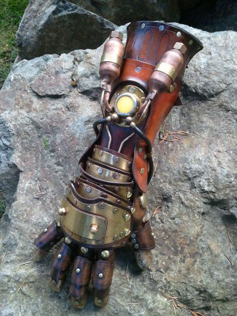 RESERVED  Steampunk Equalist Glove arm armor by SkinzNhydez, $2100.00