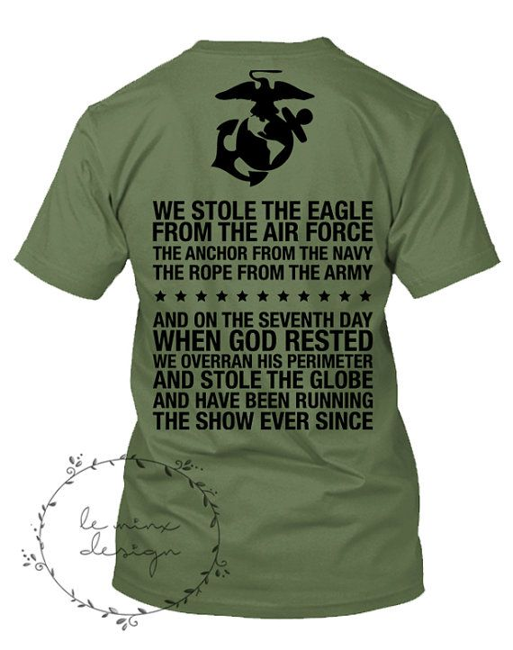 Stole the EAGLE GLOBE ANCHOR Rope Seventh Day God Rested - Skivvy Shirt - United States Marine Corps - Usmc - Military Clothing Skivvies