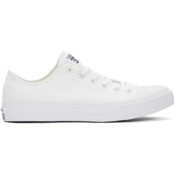 Converse White Chuck Taylor All Star II Ox Sneakers ($65) ❤ liked on Polyvore featuring men's fashion, men's shoes, men's sneakers, white, mens canvas sneakers, g star mens shoes, converse mens shoes, mens lace up shoes and mens white sneakers