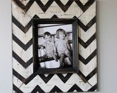 Mod Chevron Distressed Wood Picture Frame Black and White, DYI