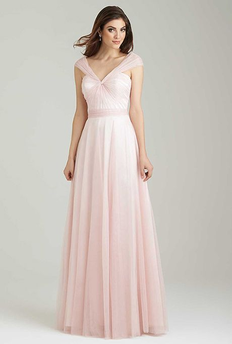 Brides: Allure Bridesmaids. Soft netting creates a delicate silhouette in this versatile bridesmaids dress.