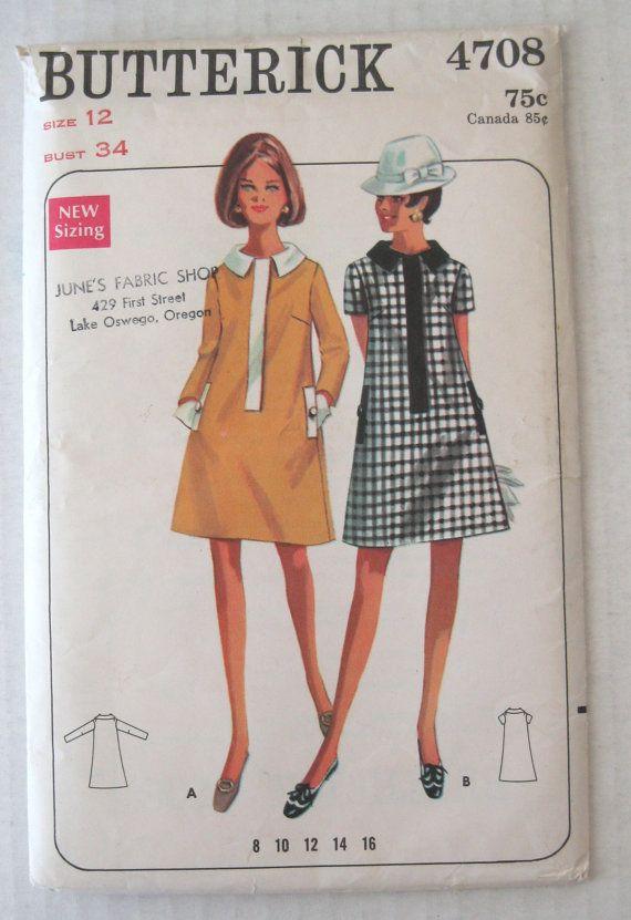 1960s Shift Dress Pattern, Butterick 4708, Womens A Line Contrast Band Concealed Zipper Dress Pattern, Misses Size 12, Bust 34, UNCUT FF