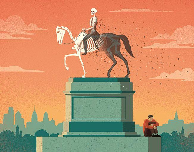 Davide Bonazzi - Where have you gone, George Washington? Americans losing their bravery. Client: Philadelphia magazine. #conceptual #editorial #illustration #georgewashington #bravery #fear #skeleton www.davidebonazzi.com