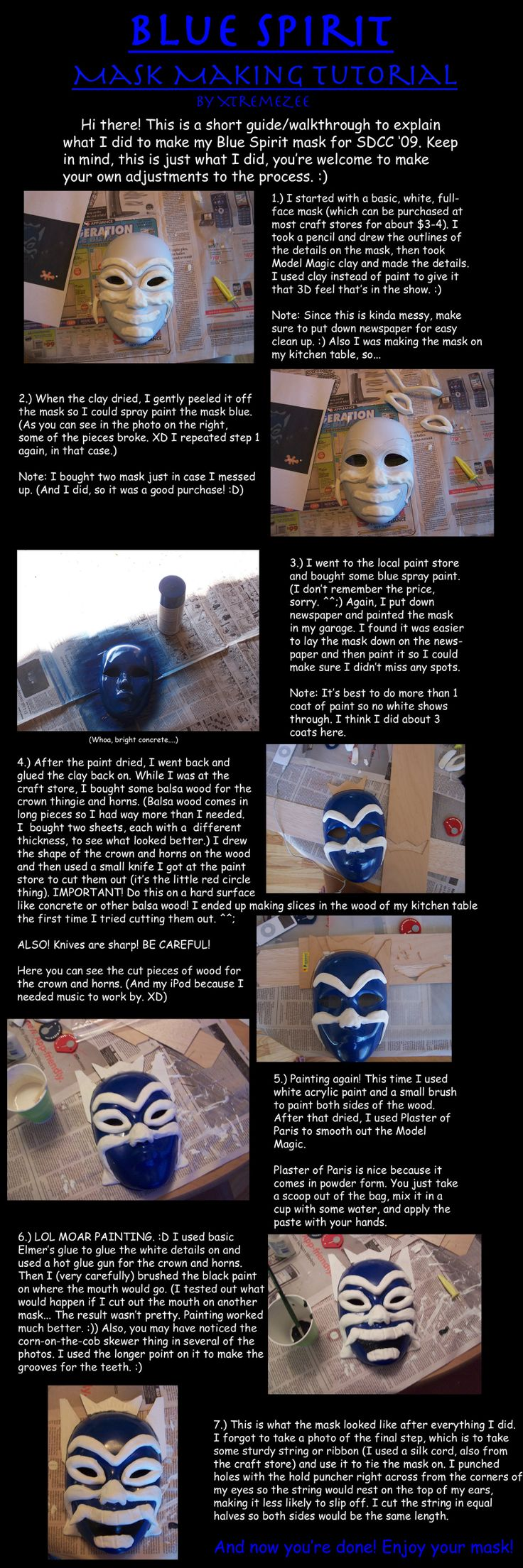 Mask tutorial for the Blue Spirit from Avatar The Last Airbender