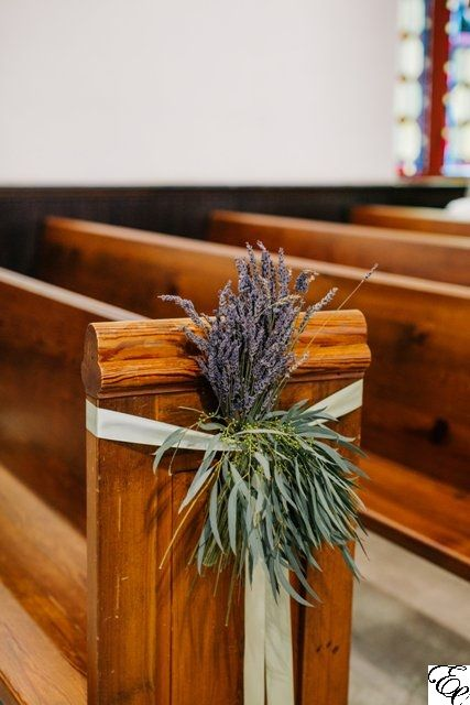 Lavender and Willow Eucalyptus Pew Markers | Purple and Green Pew Markers | St. Luke's Chapel | Unique Pew Markers | Designed by Engaging Events
