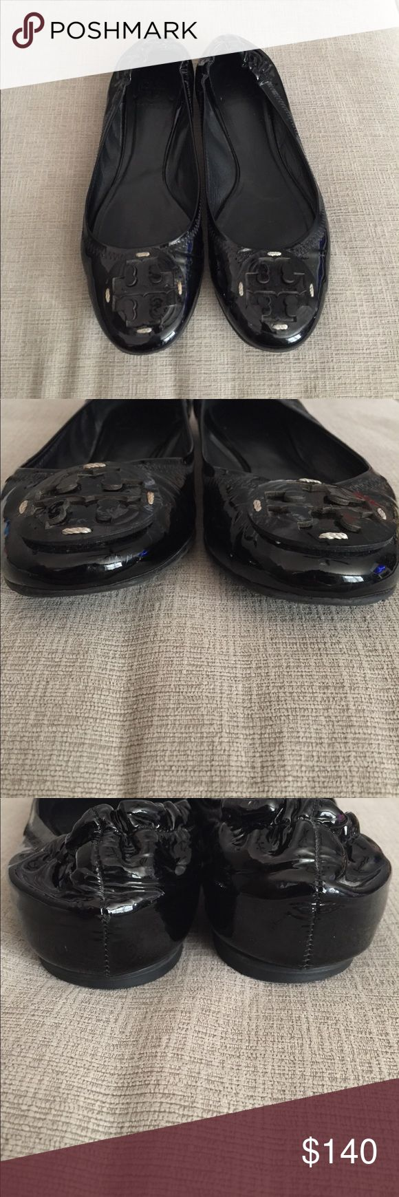 Tory Burch Reva Ballet Flats Patent Leather Reva flats.  Fantastic condition.  Extremely minor little dings from normal wear but nearly unnoticeable.  I have worn these a bunch of times and you can see how quality they are and how long they will last.  Well made and worth the cost.... I have four pair of this exact flat 🙂 Tory Burch Shoes Flats & Loafers
