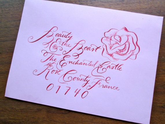 SALE 30 OFF Calligraphy Wedding Envelope Addressing Beauty And The Beast Font