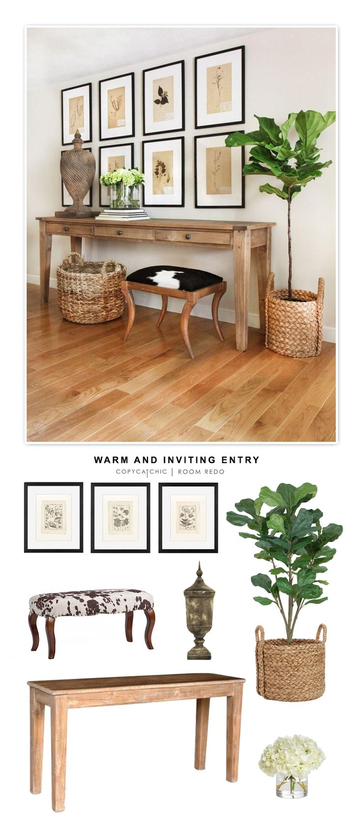 A warm and inviting entryway designed by Kelly McGuill and recreated for less than $2000 for Copy Cat Chic by @audreycdyer