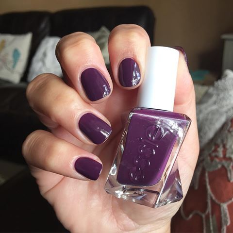 Essie Gel Couture - Turn 'n' Pose.  Really good formula, shiny & long lasting, easy to keep neat and to clean if necessary around cuticles.  Very dark on me.  Try more in this line.  Used with Essie Gel Couture top coat (in white twisted bottle).