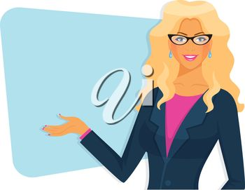 Vector illustration of Female teacher with board