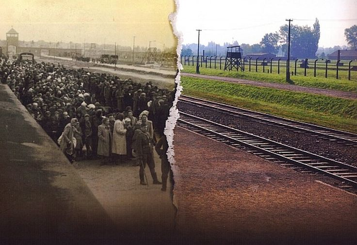 """""""Auschwitz-Birkenau, then and now"""" (via BBC) The juxtaposition of images is chilling"""