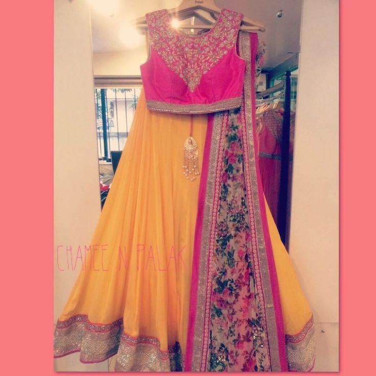Pink and yellow lengha