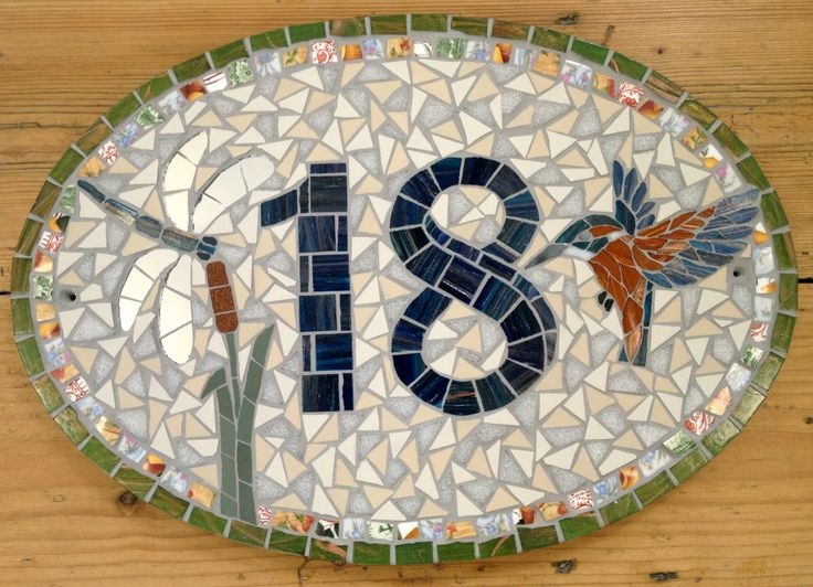 House Number by TomatoJack Arts Vintage crockery and traditional ceramic and vitreous mosaic tiles