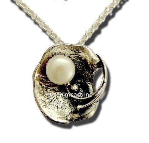 Стерлингового серебра ожерелье, пресной воды жемчужное ожерелье, серебро и жемчужное ожерелье, жемчужное ожерелье, июнь рождении каменное ожерелье - Дайте мне в N4487