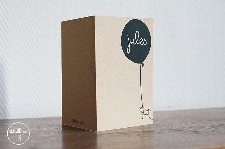 Faire part kraft ballon - http://bidouilleparlili.blogspot.fr/2012/11/faire-part-pour-ptit-loup.html