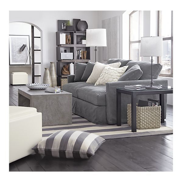 Living room lounge slipcovered sofa mason coffee table for Living room ideas in grey