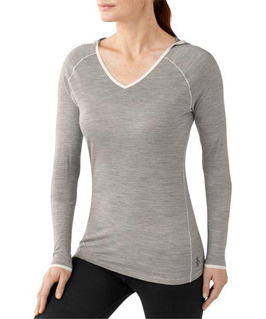 Silver Gray Heather NTS 150 Wool Pattern Hoodie - Women