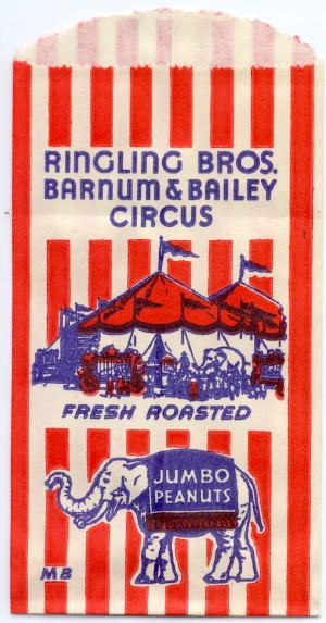 1940's red, white and blue circus Jumbo peanut bag,via esnarf