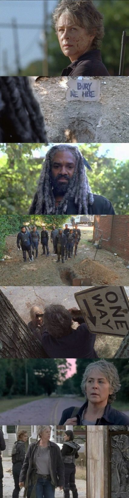 """The Walking Dead Season 7B Episode 13 'Bury Me Here' - Carol Peletier looks for Morgan at the Kingdom.  The King and the Kingdom Krew make a delivery of """"12 melons"""" to the Saviors but are deceived by one of their own. Benjamin gets shot because of the deception. Morgan deals with the deceptive one by remembering his past """"Clear"""" and finally tells Carol the truth about the Alexandria group. King Ezekiel is approached by Carol who is now in agreement but """"Not today"""". Morgan leaves the Kingdom."""