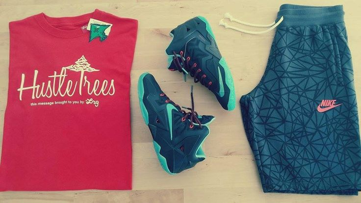 LRG Core Collection Hustle Trees Red Tee Nike AW77 Short-Ru Seasonal Dark Grey Nike LeBron XI Black