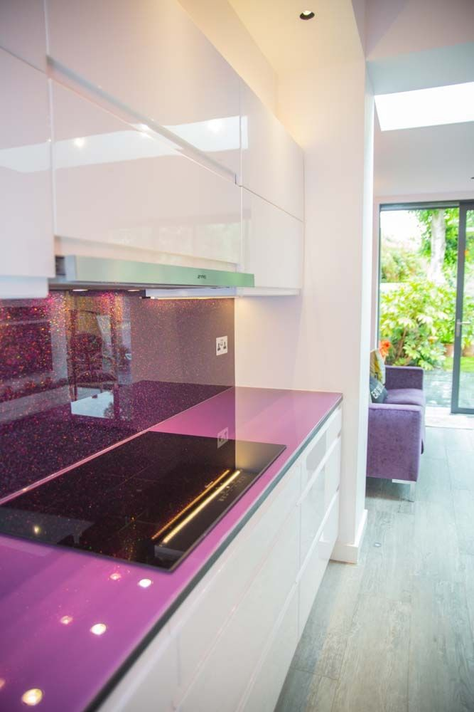 Creo Glass tops, Supply Beautiful Glass Table Tops in all shapes and sizes - Contact us today to get a Free Quote, Non- Scratch Glass Worktops. Visit www.creoglass.co.uk for more purple glass kitchen splashback & worktop ideas #kitchen