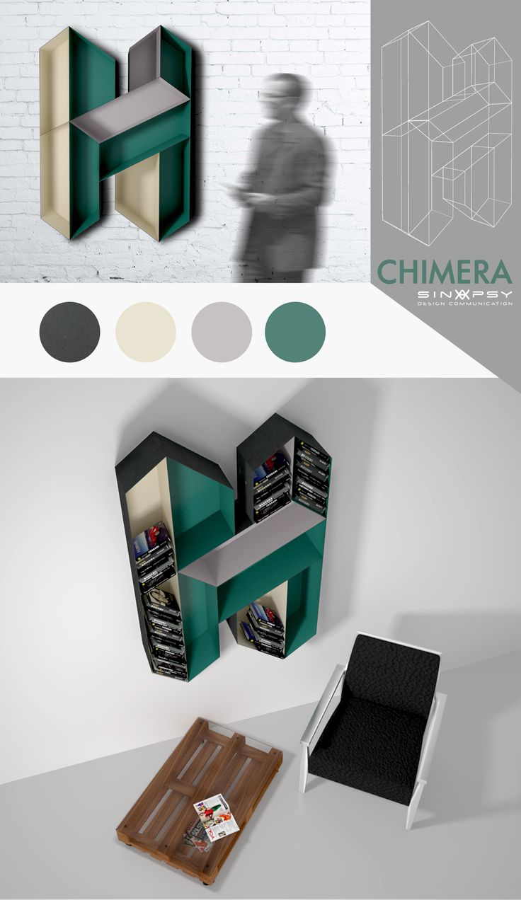 """Chimera, bookshelf for design contest """"Off the wall"""""""