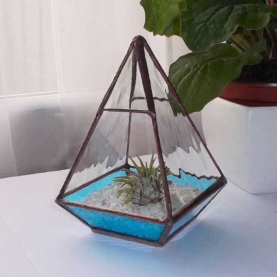 Stained Glass Terrarium, Stained Glass Air Plant Holder, Blue Glass Terrarium