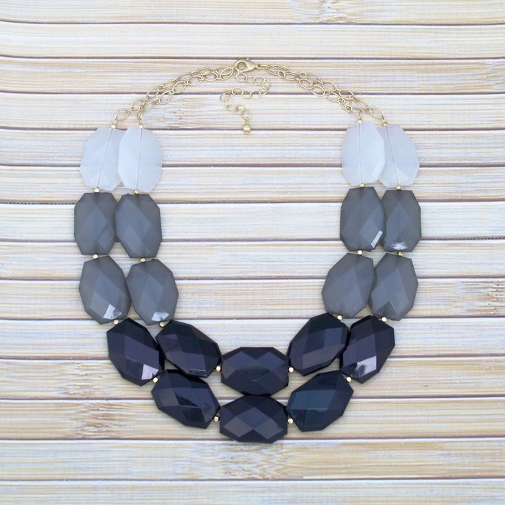 Black Statement Necklace, Black Gray White Ombre Necklace, Multistrand Big Bead Necklace, Chunky Layering Necklace, Formal Wedding Jewelry by TheGoldenGardenia on Etsy https://www.etsy.com/listing/206275933/black-statement-necklace-black-gray