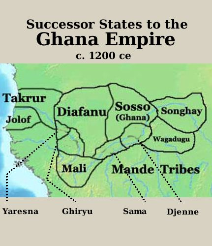 2. Senegal was once inhabited by many ethnic groups. Some kindoms such as the Takrur in the 9th centruy, Namandiru and the Jolof Empire were during the 13th and 14th centruries. Eastern Senegal was once part of the Ghana Empire. In the 14th centruy the Jolof empire grew powerful having united with other kingdoms. The formed a coalition with many ethnicities. I chose this picture to represent how Senegal was once part of the Ghana Empire and ruled by the Jolof empire.