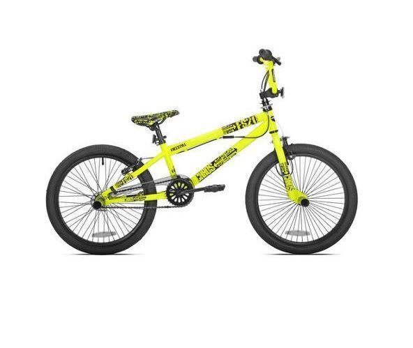 20 Inch Boys Bike BMX Freestyle Single Speed Trick Stunt Front Rear Pegs Yellow #KentInternational