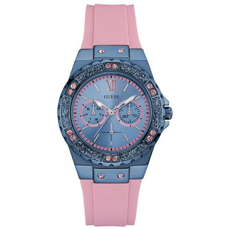Reloj Guess Multifunción mujer Limelight W0775L5. Este modelo analógico multifunción de la firma Guess, para mujer, indica la fecha, el día de la semana y del mes. El bisel del reloj está acabado en color azul, está adornado con cristales azules y rosa