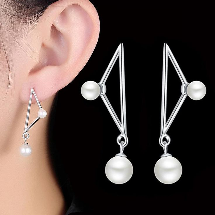 GAGAFEEL New Triangle Shape Dangle Drop Earrings For Women Pure 925 Sterling Silver Simulated Pearl Long Earring For Women