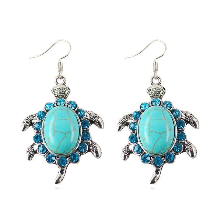 Nieuwe Mode Tibetant Zilveren Oorbel Vintage Dieren Schildpad Kristal Natuurlijke Turquoise Steen Oorbellen Sieraden voor Vrouwen Geschenken