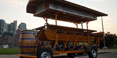 Nashville Pedal Tavern... Seats 16 people, BYOB and put in ice bucket in middle of bar, host tours around Broadway for 2.5 hours and we can stop at 2-3 bars along the route (some parterned bars offer an exclusive drink special), $27/person.