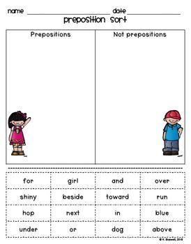 Preposition Sort Activity (Common Core Aligned)