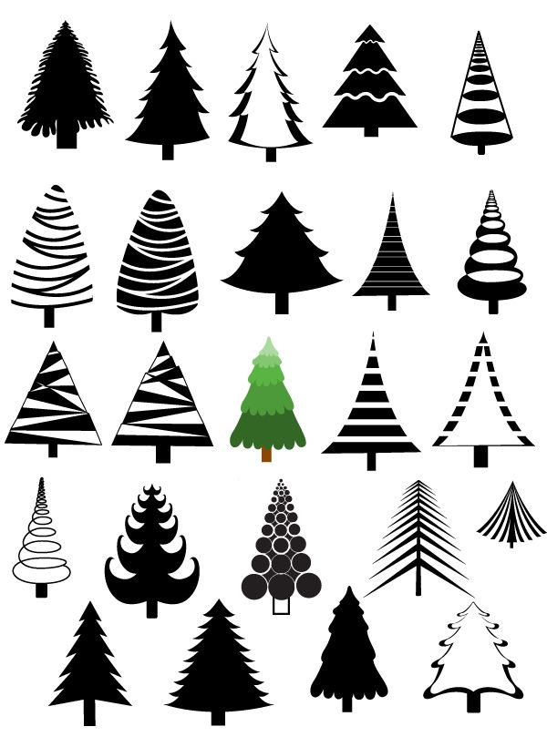 Christmas Trees Vectors, Brushes, Shapes, PNG