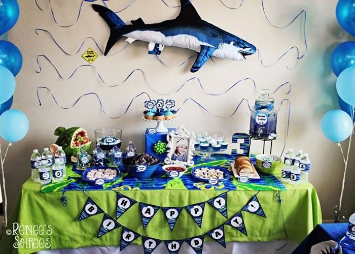 Shark Themed 3rd Birthday Party Boys Kids Blue Green