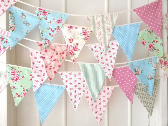 Shabby Chic Fabric Banners, Bunting, Garland, Wedding Bunting, Pennants, Flags, Pink, Green, Blue - 25 ft (extra long) on Etsy, £44.48