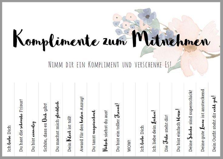 Komplimente zum Mitnehmen (PDF-Vorlage) | Komplimente, Diy