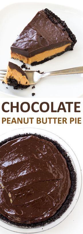 Super Easy No Bake Chocolate Peanut Butter Pie. Oreo Cookie Crust layered with a peanut butter filling and chocolate ganache! | chefsavvy.com #recipe #chocolate #peanut #butter #pie #dessert