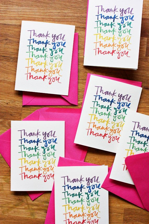 rainbow thank you cards - download a free printable