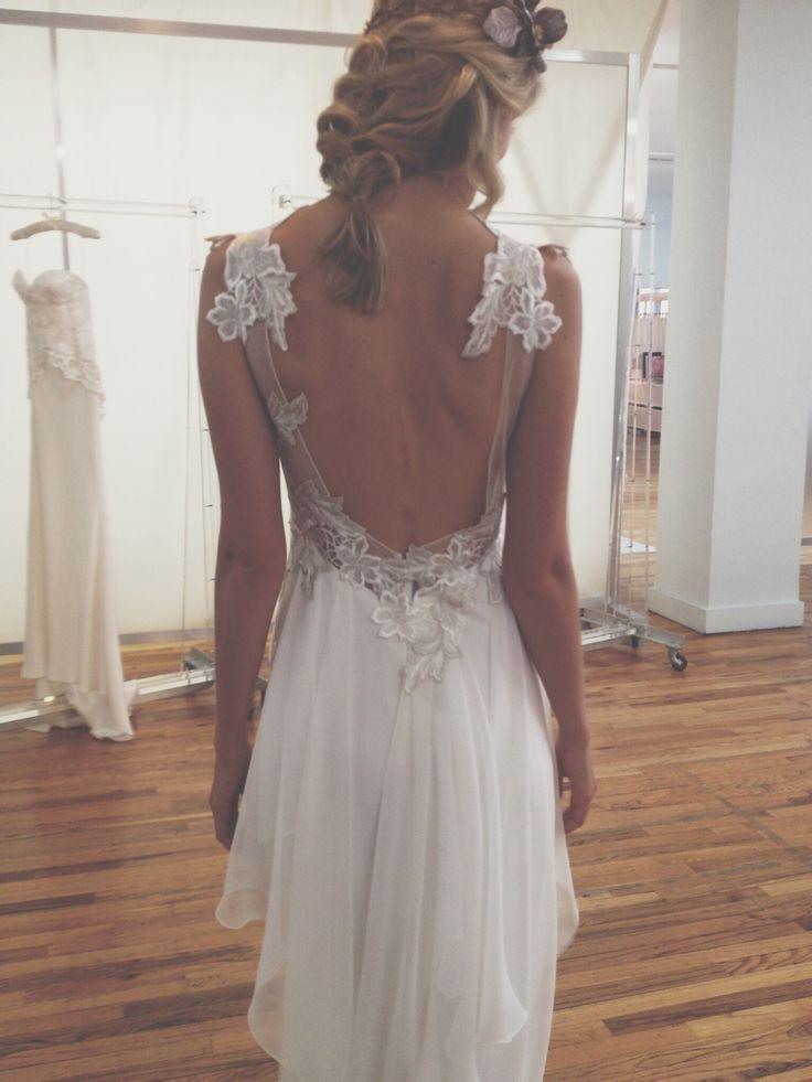 Stunning backless wedding dress by Elizabeth Fillmore   Elizabeth Fillmore Ivy dress   anna be bridal boutique denver   #backless #backlessweddingdress #elizabethfillmore #annabedenver