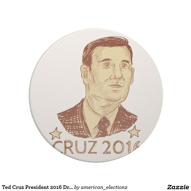 Ted Cruz President 2016 Drawing Coasters. Drawing sketch style illustration showing Rafael Edward Ted Cruz, an American senator, politician and Republican 2016 presidential candidate set inside crest shield with words Cruz 2016. #Cruz2016 #americanelections #elections #vote2016 #election2016