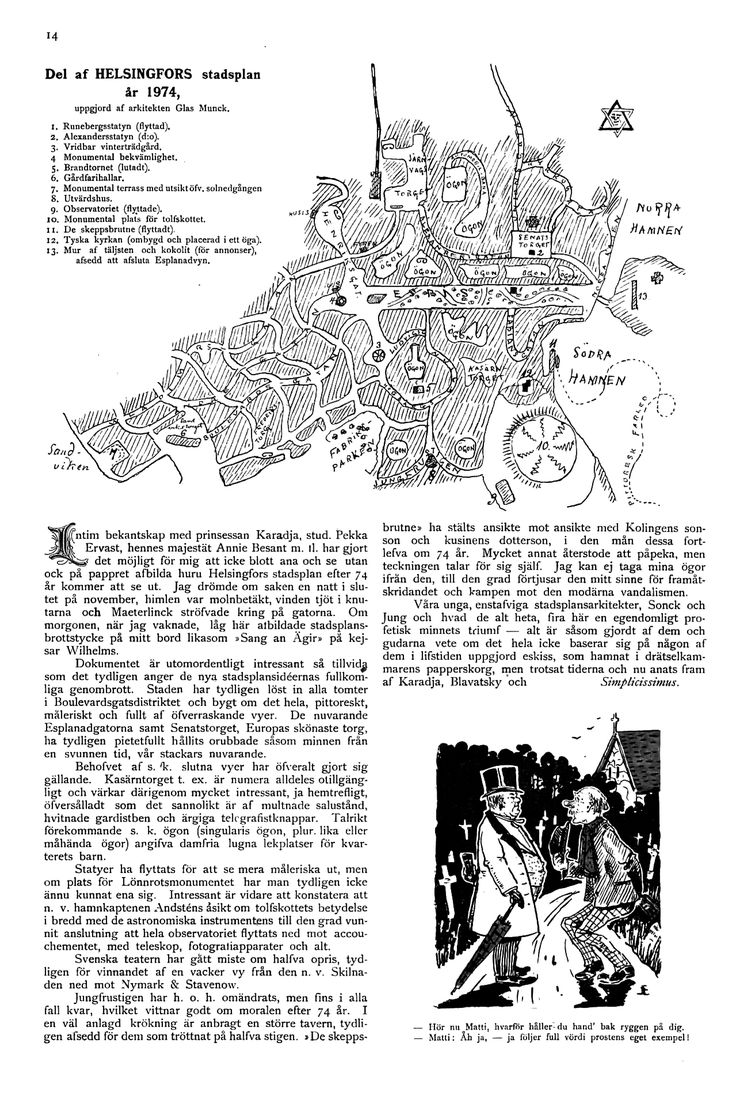 Del af Helsingfors stadsplan år 1974 - Helsinki tulevaisuudessa vuonna 1974, kirjoitettu vuonna 1900. Pekka Ervast (1875-1934) Mary Karadja (1868-1943) Annie Besant (1847-1933)