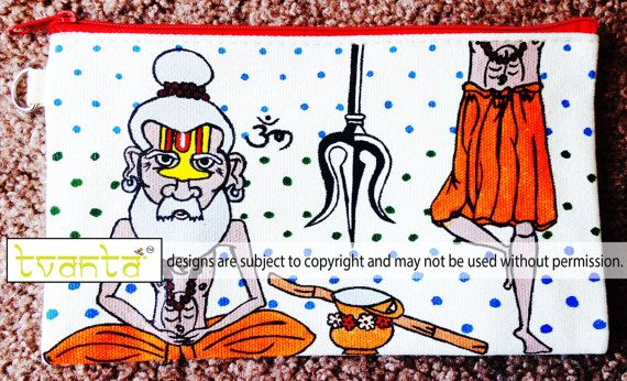 Indian Sadhu Hand Painted Cotton Canvas Clutch Wristlet by Tvanta