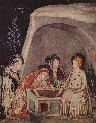 Bassa, Ferrer Three Women at the Tomb  c. 1346 Fresco Monastery of Pedralbes, Barcelona  Pedralbes once a village or small town, is now one of the suburbs of Barcelona. It is the site of a convent of the Order of St Claire which was built around 1326. There, in the chapel of St Michael, are Ferrer Bassa's frescoes, depicting scenes from the life of Christ.