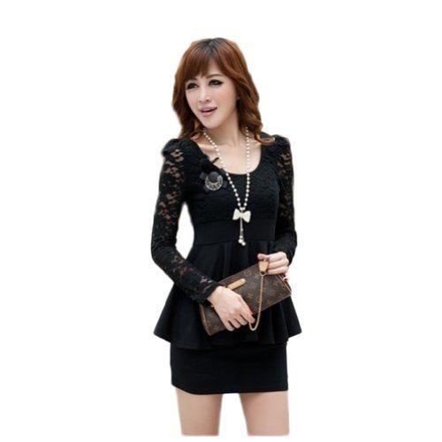 Women's Sexy Dress Long Sleeves Lace Top Peplum Slim Party Cocktail Dress (COLOR : BLACK | SIZE : L)