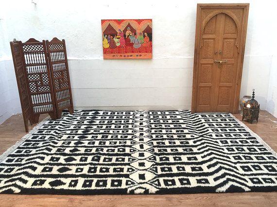 LARGE TRIBAL RUG 100% Authentic Vintange Azilal Moroccan Large rug Wool Beni Ourain 9x12 moroccan oriental area rug berber handmade Kilim