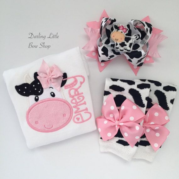 Baby Girl Outfit Baby Girl Gift Cow Outfit by DarlingLittleBowShop